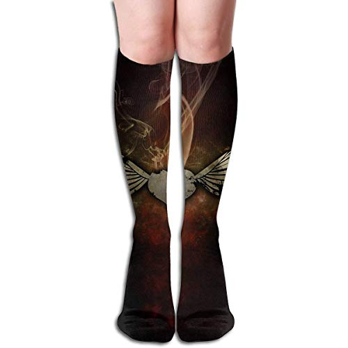 CVDFVFGB Compression Socks Wings Feather Smog High Boots Stockings Long Hose for Yoga Walking for Women Man