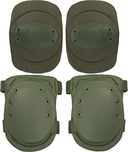 normani Tactical Protektorenschutz Ellenbogenschützer und Knieschützer für Paintball Farbe Oliv -
