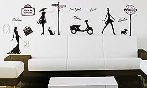 Sticker mural géant Fashion week - Paris - Londres - Milan - New York - WS061...