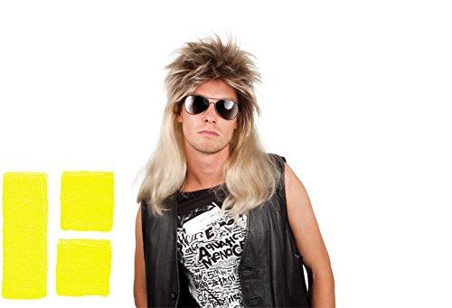 Panelize® 80er Jahre Vokuhila Perücke und Schweißband Stirnband Set 4 Farben wählbar (gelb) (80er Jahre Neon Kostüm Ideen)