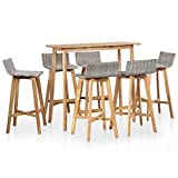 vidaXL Akazienholz Barset 7-TLG. Poly Rattan Gartenbar Sitzgruppe Gartenmöbel