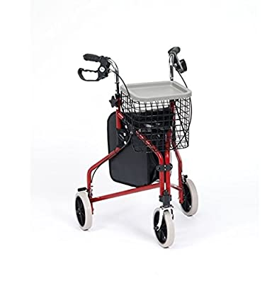 Steel Three Wheeled Triwalker with Shopping Bag, Basket & Tray in Blue or Red