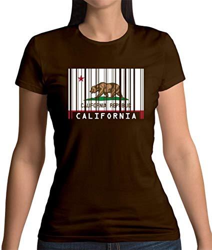 California/Kalifornien Barcode Flagge - Damen T-Shirt - Dunkles Schokobraun - XXL -