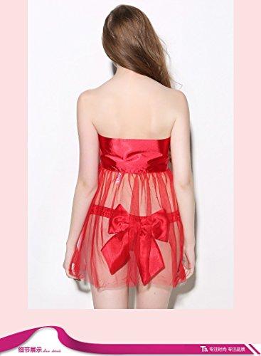 lpkone-Nouveau style fashion sous-vêtements sexy lingerie sexy tentation pivot bow Cardigan chemise femme string format libre, rouge Red