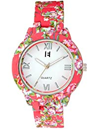 Excelencia CW-39-Pink Floral Printed Analog watch for Women, Girls