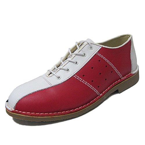 Ikon Original - Herren Bowling-Schuhe aus Leder - Mod/60er/70er - Rot/Weiß/Blau - EU43 UK9