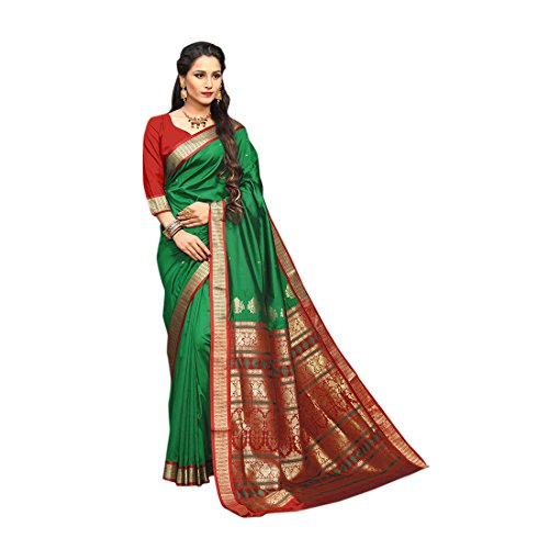 Craftsvilla Women\'s Silk Blend Zari Work Traditional Green saree with Unstitched Blouse Piece