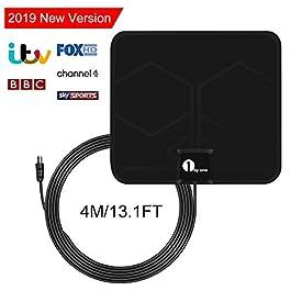 Antenna Interna TV, 1byone Antenna per DTT DVB-T/DVB-T 2 per TV con Digitale, Antenna HDTV Super Sottile VHF/UHF/FM, 0,5…