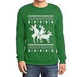 Rehntier Dreier - Lustiger Herren Weihnachtspullover Sweatshirt Large Grün