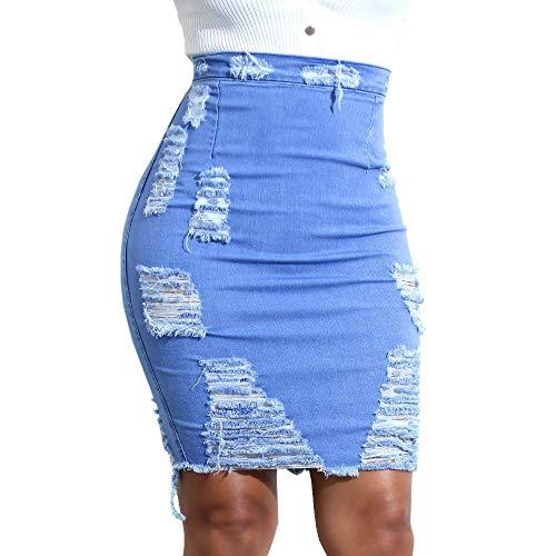 Riou Minirock Stretch Damen Jeans Loch Sexy eng Pencilrock Hohe Taille Bodycon Denim Damenrock Schnalle Jean Mini Röcke Kariert Leder (2XL, Blau)