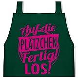 Shirtracer Kinderschürze mit Motiv - Auf die Plätzchen. Fertig, Los! - fuchsia - 60 cm x 50 cm (H x B) - Grün - X978 - Kochschürze und Schürze für Kinder