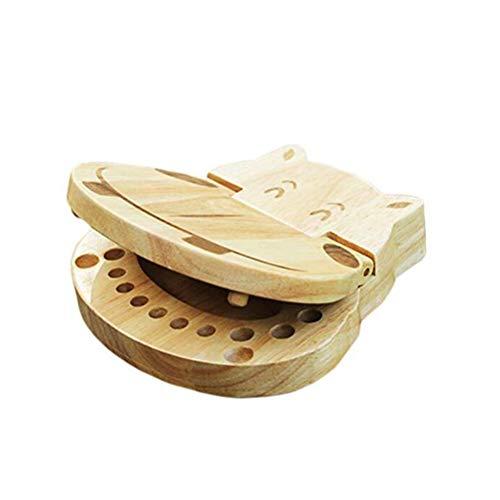 SUPVOX Holz Baby Zähne Box Milchzähne Aufbewahrungsbox Milchzahndose Zahndose Andenken Box Erinnerungsbox für Kinder Souvenir Fall (Hippo-Form)