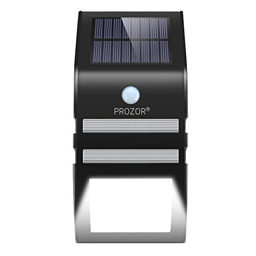 PROZOR LED Solar Lights Waterproof Solar Wall Light Security Night Lights Outdoor Lighting with Sensor Motion for Garden Fence Backyards Stairs - Black