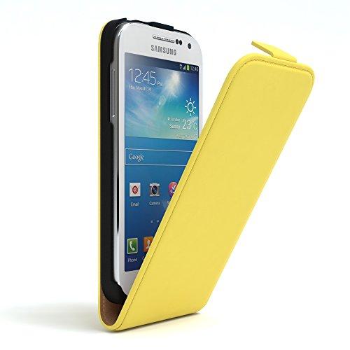EAZY CASE Flip Case Hülle für Samsung Galaxy S4 Mini Handyhülle - Premium Schutzhülle zum Aufklappen, Klapphülle - Flip Cover in Rot Gelb