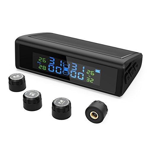 HiGoing Reifendruckkontrollsystem, Reifendruckmesser für Auto, Wohnmobil, KFZ usw, Solar Reifendruckkontrolle mit 4 Sensoren, LCD-Display zeigt genaue Reifendruck- und Temperatur