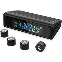 HiGoing Solar Monitor de Presión Neumáticos de Coche, Manómetro de Neumáticos con 4 Sensores, LCD Pantalla que Muestra Presión y Temperatura Exactas de Ruedas para Coche, Camione, SUV, Furgoneta, Más