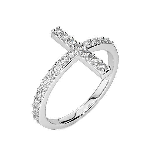 Anello a croce con diamanti da 0,72 carati f/si1, anello religioso in oro bianco con croce di pasqua san valentino e oro bianco, 57 (18.1), colore: bianco, cod. cjolr0002.9
