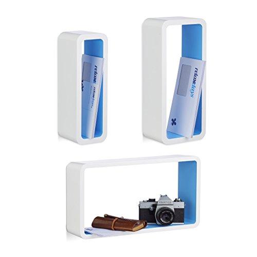 Relaxdays 10021788_361 set di 3 mensole da parete, laccate, varie misure, decorative, capacità di carico 8 kg, bianco-blu