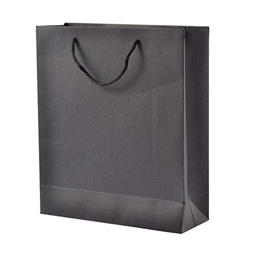 (nbeads Geschenktüten aus Kraftpapier mit Nylon-Griffen, Schwarz, 10 Stück, Papier, Schwarz, 20x15x6cm)