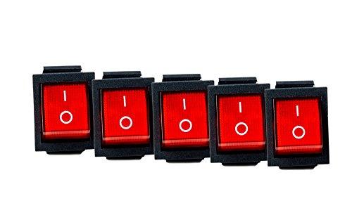 Schalter Snap (5x Wippschalter eckig rot beleuchtet 2-polig 250V 16A EIN/AUS Snap In Montage Einbaumaß 30x22mm S-118)
