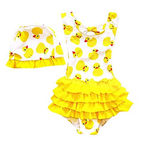 WUSIKY Bademode Kinder Baby Mädchen Einteiler Cartoon Bikini Rüschen Badeanzug Badebekleidung Elegante Lässige Mode Kinder Baby Bademode 2019 Neue Kinderkleidung (Gelb,L)