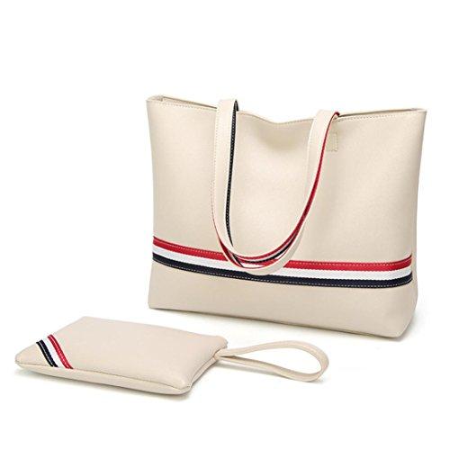 Manadlian 2 Stück Mode Frauen Crossbody Tasche Handtasche Schultertasche Umhängetasche Totes Mit Streifen Reißverschluss Ledertasche (Weiß) (Tote Weiß-streifen)