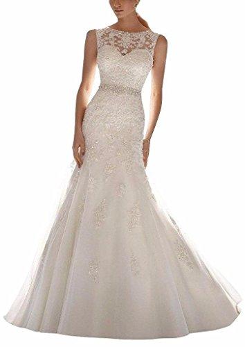 Changjie Damen illusion Neckline Kristall Perlen SpitzeAppliques Hochzeitskleider Meerjungfrau Brautkleid