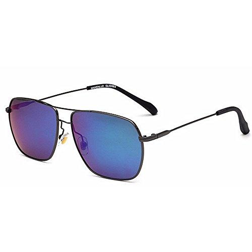 Ppy778 Classic Aviator Polarized Pilot Mirrored UV400 Schutz Fahren Sonnenbrille Mit Premium Metallrahmen Für Herren Damen (Color : Blue)