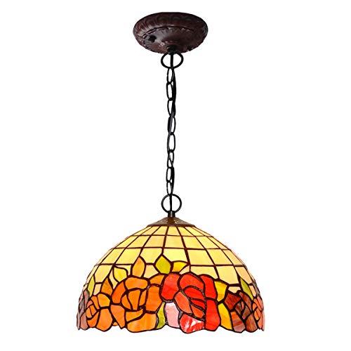 Tiffany-stil-rote Rose (Tiffany Stil rote Rose Pendelleuchte Vintage romantische Glasmalerei hängende Leuchte für Insel Schlafzimmer Wohnzimmer, E27 (Keine Glühbirne))