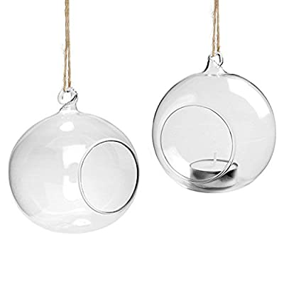 Youseexmas Hanging Glass Bauble Sphere Ball Candle Tea Light Holder Terrarium Outdoor Garden Dia:80mm Pack of 4 from youseexmas