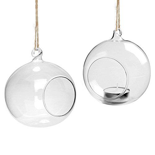 Youseexmas Teelichthalter zum Aufhängen Glaskugel klar Windlicht Pflanzenkugel Hochzeitsdeko Durchmesser 8 cm 4Stk