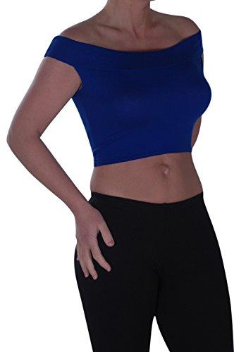 Eyecatch - Bardot Style Aux Femmes Hors La Épaule Désinvolte Gilet T -Shirt Dames Haut Royal Bleu