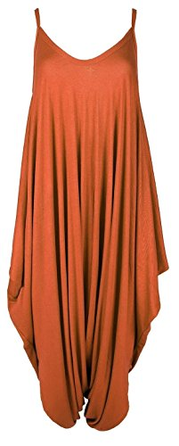 new-womens-plain-ali-baba-harem-suit-cami-strappy-oversized-all-in-one-jumpsuit-l-xl-uk14-16-rust