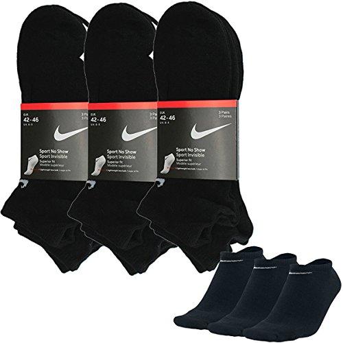Nike No Show Seaker Socken Low Schwarz 3er-Pack Groesse 38-42