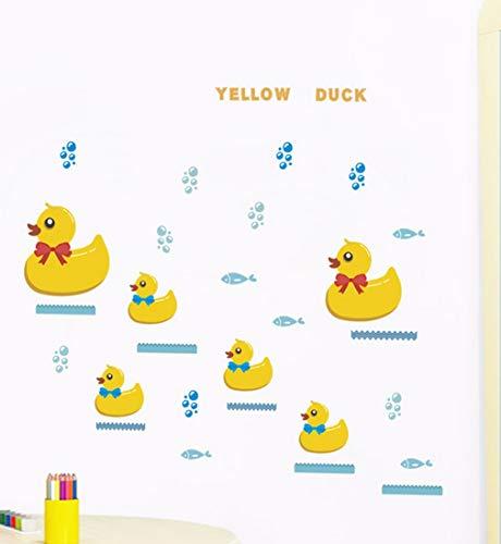 Cartoon gelbe ente wandaufkleber kinderzimmer badezimmer schlafzimmer kunst dekoration tiere abziehbilder diy tapete wandbild -