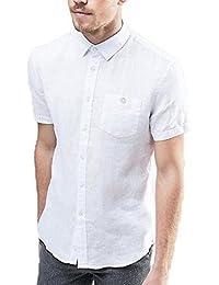 21effaa39c01e Essential Little Man Men s Cotton Solid Linen Blend Half Sleeves Shirt  (White