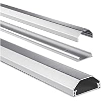 Hama Kabelkanal Alu (Aluminium, eckig, 110 x 3,3 x 1,7 cm, bis zu 5 Kabel) silber
