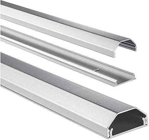 Hama Kabelkanal Alu (Aluminium, eckig, 110 x 3,3 x 1,7 cm, bis zu 5 Kabel) silber (Kabelkanal Für Tv)