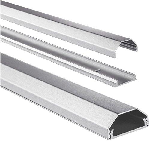 Hama Kabelkanal Alu (Aluminium Leiste für TV Wandhalterung, Kabelabdeckung eckig, 110 x 3,3 x 1,7 cm, Kabeldurchführung für bis zu 5 Kabel, inkl Montagematerial) silber - Aluminium Kabelabdeckung
