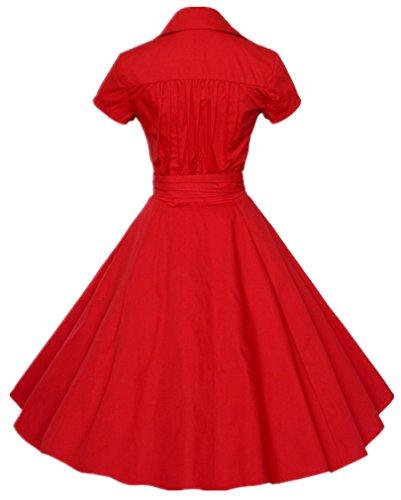 Eudolah Robe Vintage Uni pantineuse avec manches courtes et un noeud swing style des années 50 Femme Rouge