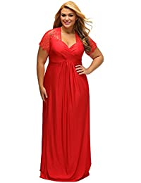 f6661fbb64e1 ILFtrend Women Twist High Waist Plus Size Gown Lace Yoke Ruched Deep V Neck  Evening Party