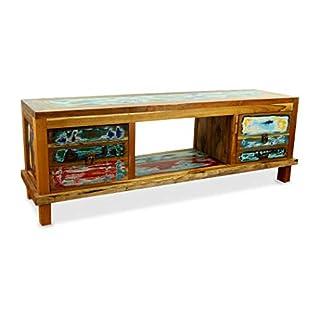 livasia Java Sideboard aus recyceltem Teakholz   TV-Bank aus Buntem Massivholz   Asia Möbel   Phonoschrank   HiFi-Möbel der Marke Asia Wohnstudio (Handarbeit)