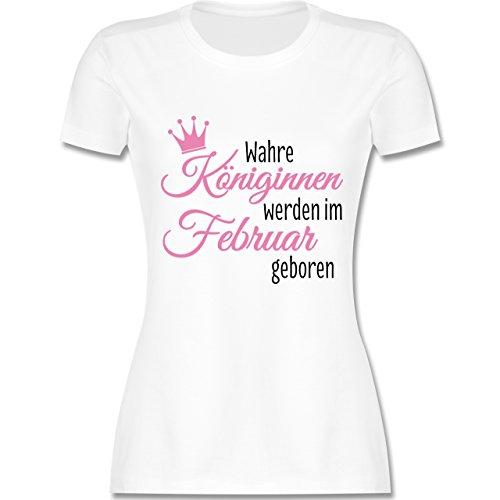 Geburtstag - Wahre Königinnen werden im Februar geboren - tailliertes Premium T-Shirt mit Rundhalsausschnitt für Damen Weiß