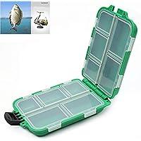 Beito Caja de Almacenamiento con 10 Compartimentos de plástico para Pesca con Mosca, Señuelo de Pesca, Gancho para Cebo
