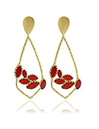 The Bohemian E2617 - 289 Red Ribbed Triangle Alloy Gold Plated Dangle & Drop Earring For Women