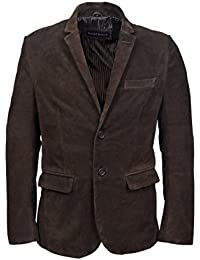 New stylsih 3450 Millano 2 button CLASSIC BLAZER Men Brown suede Leather Jackets