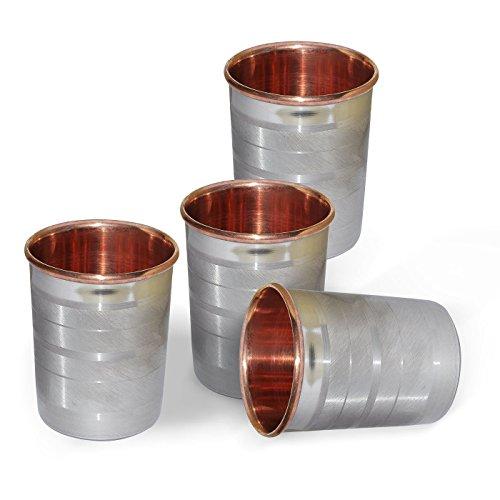 Satz von 4 - Prisha Indien Craft® Kupfer Glas Schale für Wasser - Handgemachte Wassergläser - Außen Stahl innen Kupfer Traveller's Kupfer Glaskrug für Ayurveda Leistungen - WEIHNACHTSGESCHENK LOS