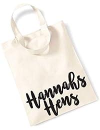 Personalised Name Hens - Small Canvas Fun Slogan Tote Bag
