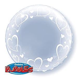 Qualatex 29505elegante corazones Deco globos de látex para de burbuja, 60cm