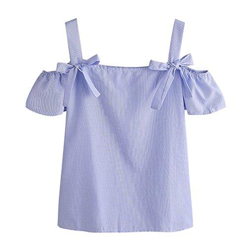 Ulanda Damen Sommer Boho Bluse Crop Top Gestreift Schulterfrei Cold Shoulder Locker Träger Top Oberteil Teenager Mädchen Nadelstreifen Kurzarm Casual Tshirt Hemd Top Bluse Shirt (A-Blau, L) -